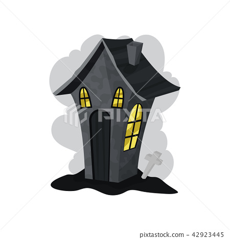 Creepy stone house with yellow lights in windows. Halloween theme. Flat vector element for story 42923445