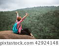 Freedom traveler woman sitting on the cliff  42924148