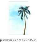 Palm trees. Tropics nature. Summer vacation banner template with text place 42924535
