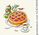 Fruit pie, apples and cup of coffee. 42924664