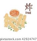 油炸食物,春卷,食物插画 42924747