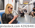 Young girl reading from mobile phone screen in metro. 42926481