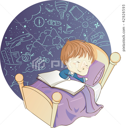Kid Boy Sleeping Book Dreaming Illustration 42926593