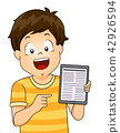 Kid Boy Tablet Web Articles Illustration 42926594