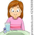 Kid Girl Salt Gargle Illustration 42926609