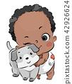 Baby Toddler Boy Hug Dog Illustration 42926624