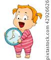 toddler, girl, clock 42926626