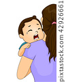 Baby Toddler Cry Back Mom Illustration 42926661