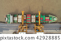 Aerial view container ship for transportation. 42928885