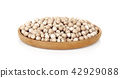 uncooked chickpeas in wooden plant on white 42929088