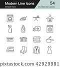 Dry Clean and Laundry icons. Modern line design. 42929981