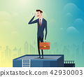 Businessman standing at the top of the building holding binoculars, background is a large city 42930003