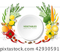Flat lay Fresh vegetables on white table 42930591