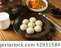 Potato dumplings in a plate on a table 42931584