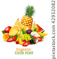 Big collection of different organic fresh fruit.  42932082