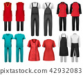 Set of overalls with worker and shefcooks  42932083