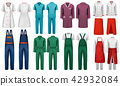 Set of overalls with worker and medical clothes. 42932084