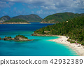 Beautiful bay in island with beach and green hills, St. John US Virgin Islands 42932389