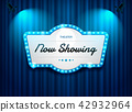 theater sign on curtain with spotlight vector 42932964