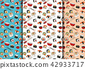 Sushi rolls seamless pattern set. Asian food 42933717