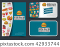 Fast food flyer and banner or business card set. 42933744