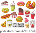 Fast food cartoon icons and objects set. 42933746