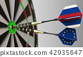 Flags of Russia and the European Union on darts hitting bullseye of the target. International 42935647