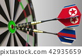 Flags of North Korea and Russia on darts hitting bullseye of the target. International cooperation 42935659