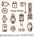 Vintage classic pocket watch, alarm clock, hourglass and dial showing time. Ancient collection 42935703