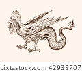 Mythical Basilisk. Ancient Mythology. Bird and animal, creature cock in the old vintage style 42935707