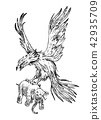 Mythical Phoenix fire bird or antique Roc. Ancient Mythology animal, creature in the old vintage 42935709