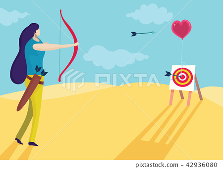 Beautiful woman is shooting a bow into the heart 42936080