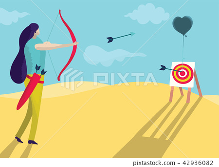 Beautiful woman is shooting a bow into the heart 42936082