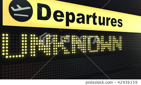 UNKNOWN word appearing on airport departure board. Conceptual 3D rendering 42936159