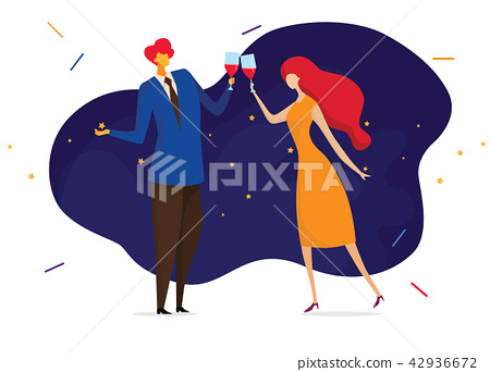 Young passionate couple drinking wine in cafe. 42936672