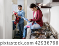 Man And Woman Doing Chores Washing Clothes 42936798