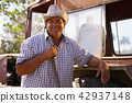 Portrait Happy Man Farmer Leaning On Tractor Looking At Camera 42937148