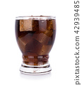 Cola in glass with ice cubes on white background 42939485