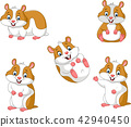 Cute cartoon hamsters collection set 42940450