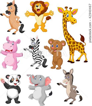 Wild animals cartoon collection set 42940467