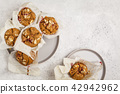 Berry oatmeal muffins on a white background 42942962