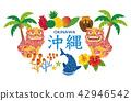 Okinawa sightseeing specialty shisa jinbeisame goya hibiscus illustration 42946542