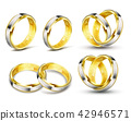 Set of realistic illustrations of gold wedding rings with engraving 42946571