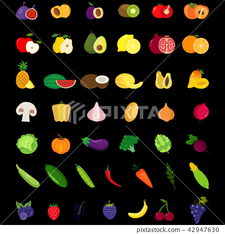 Set of fruits and vegetables icons 42947630
