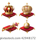 Royal crowns, scepter and orb realistic set 42948172