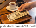 Hand putting US money tips in tray. 42948540