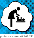Women and baby symbol, baby changing. Vector. Black icon in bubb 42948891