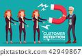 Customer Retention Vector. Businessman With Giant Magnet Attracts Client Woman. Success Strategy 42949867