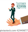 Customer Retention Vector. Businessman Hand With Man Client. Customer Care. Save Loyalty. Support 42949877
