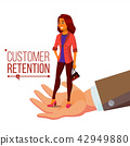 Customer Retention Vector. Businessman Hand With Woman Client. Customer Care. Save Loyalty. Support 42949880